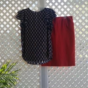 Navy Blue Blouse with Flutter Sleeves